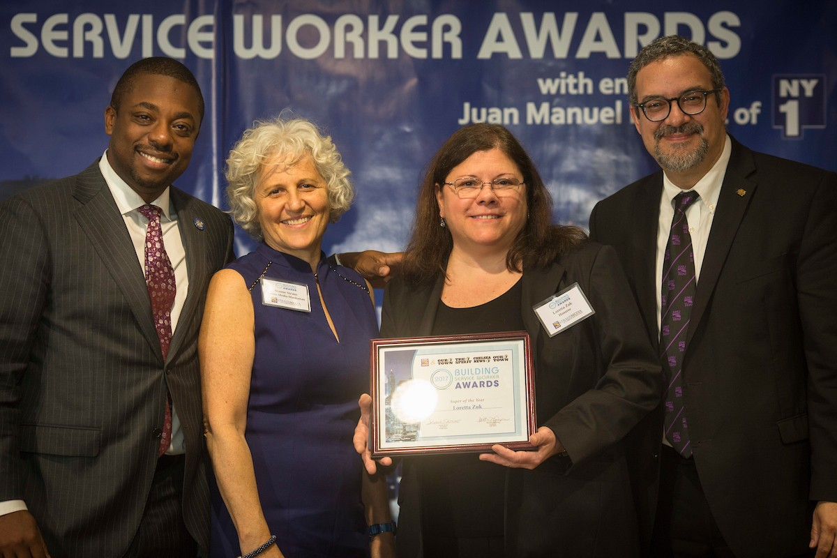 Loretta Zuk, a superintendent at 547 Riverside Drive, was honored as superintendent of the year at the 11th annual Building Service Worker Awards.