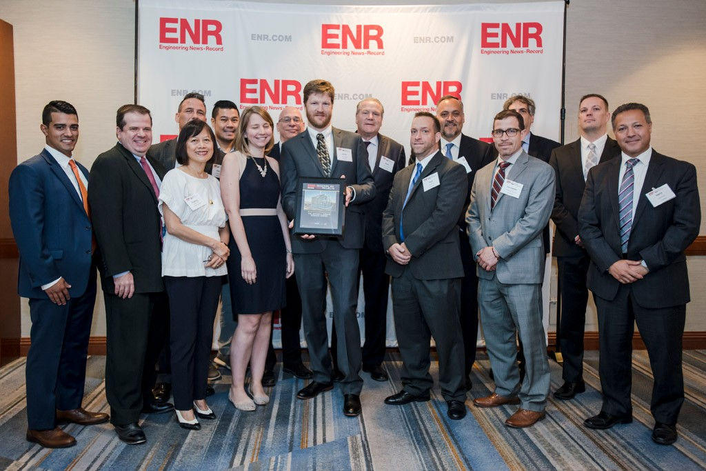The Manhattanville Development team with the ENR Best Project award in the higher education/research category for the Jerome L. Greene Science Center.